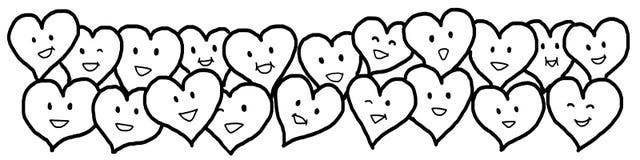 Miłość serc walentynki czerni konturu Biały rysunek Obrazy Stock