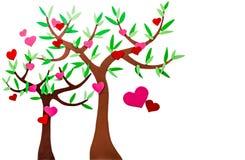 Miłość serca drzewni Zdjęcia Stock