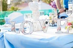 Miłość stół Fotografia Royalty Free