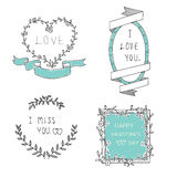 Miłość sztandaru ramowy set Obrazy Royalty Free