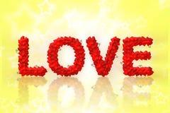 Miłość tekst robić kierowy kształt Fotografia Royalty Free