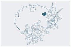 Miłość tematu kolorystyki strony starej szkoły tatuażu znaki Obrazy Stock