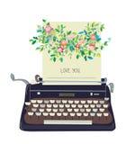 Miłość ty gręplujesz z maszyna do pisania i kwiatem - konceptualny illustrati ilustracja wektor