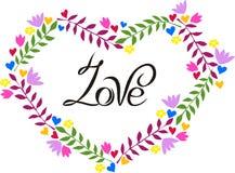Miłość w kwiecistej ramie Zdjęcia Stock