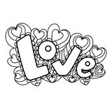 Miłość w stylu doodle, zentangle Czarny liniowy kwiecisty Fotografia Royalty Free