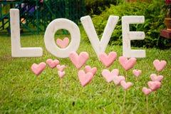 Miłość znak na trawy polu Fotografia Stock