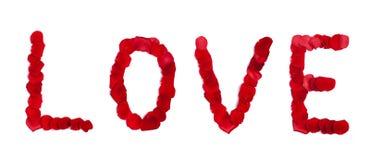 miłość zrobił płatków róży znaka biel Obrazy Royalty Free
