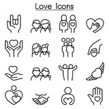 Miłość, związek, przyjaciel, Rodzinna ikona ustawiająca w cienkim kreskowym stylu royalty ilustracja