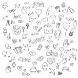 Miłości doodle wektoru set Zdjęcia Royalty Free