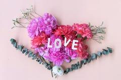 Miłości drewniany słowo na świeżych goździków kwiatach obrazy royalty free