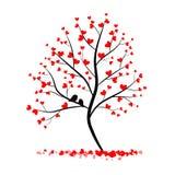 Miłości drzewo z dwa ptakami Zdjęcie Stock