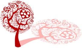 Miłości drzewo z sercami ilustracja wektor