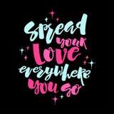 Miłości i dobroczynności pojęcie wręcza literowanie motywaci plakat Zdjęcia Stock