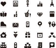 Miłości i walentynek dnia ikony set Fotografia Stock