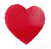 Miłości i walentynki pojęcie 3d piksla sztuki serce Obraz Stock