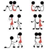Miłości i związku ikony set Obraz Royalty Free