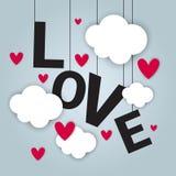 Miłości Karcianego tła walentynek dnia Szczęśliwy pojęcie Z papieru cięcia chmurami I serce kształtami Obraz Royalty Free