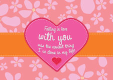Miłości karta z kwiecistym tłem Zdjęcie Royalty Free