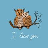 Miłości karta z sowami Fotografia Royalty Free