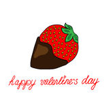 Miłości karta z truskawkami Zdjęcie Royalty Free