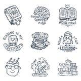 Miłości motywaci wycena zwrotów odznaki loga czytelniczy bąbel na książkowej wektorowej ilustraci ilustracji