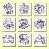 Miłości motywaci wycena zwrotów odznaki loga czytelniczy bąbel na książkowej wektorowej ilustraci ilustracja wektor