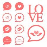 Miłości mowy ikony valentine ikony set ilustracja wektor