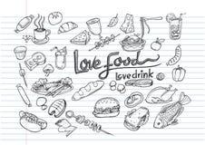 Miłości miłości napoju pojęcia doodle karmowy element Fotografia Royalty Free