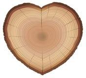 Miłości natury drewno Dzwoni serce Kształtującego symbol Fotografia Royalty Free