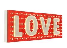 Miłości neonowy błyskawicowy ogłoszenie z żarówkami i czerwieni bazą odosobnionymi na białym tle, Zdjęcia Stock