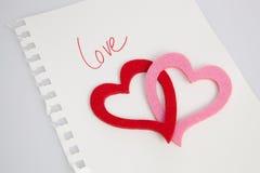 Miłości notatka Fotografia Royalty Free