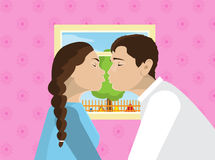 Miłości pary całowania romantyczna data, moda mężczyzna odzieży kostium i kobiety błękita suknia, całujemy również zwrócić corel  royalty ilustracja