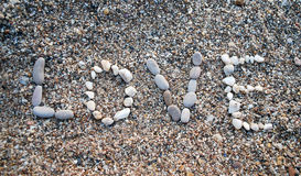 miłości piaska słowo Obrazy Royalty Free