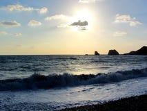 Miłości plaża Aphrodite ` s skała - Aphrodite ` s miejsce narodzin blisko Papho zdjęcie stock