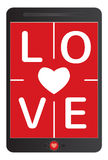 Miłości pojęcie, wiadomość na pastylce Obrazy Royalty Free