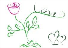 miłości róży wektoru słowo Obraz Royalty Free
