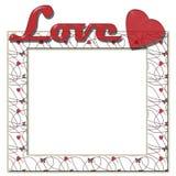 Miłości rama z sercami i tekstem Obrazy Royalty Free