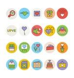 Miłości & romansu Barwione Wektorowe ikony 3 Zdjęcie Stock