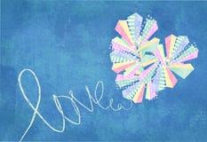 Miłości serca abstrakcjonistyczna karta Abstrakcjonistyczny serce robić kolorowymi trójbokami i rombs dekorującymi z, białymi lin Zdjęcia Stock