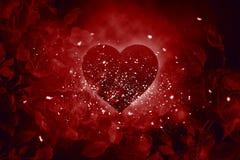 Miłości serca róże Zdjęcia Stock