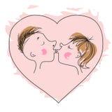 Miłości serce dla, buziak i Zdjęcia Royalty Free
