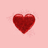 Miłości serce na różowym tle Fotografia Royalty Free
