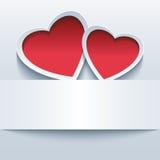 Miłości tło z dwa 3d sercami royalty ilustracja