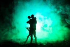 Miłości walentynki ` s dnia pojęcie Sillhouette słodcy potomstwa dobiera się w miłości stoi w polu i ściska na zmrok tonującym mg Obrazy Royalty Free