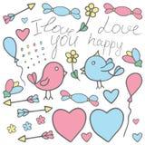 Miłości walentynki sztuka Romantyczna ręka rysujący doodle wektorowy clipart wewnątrz Obrazy Royalty Free