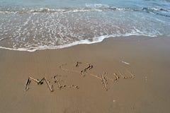 Miłości wiadomość przy plażą Fotografia Royalty Free