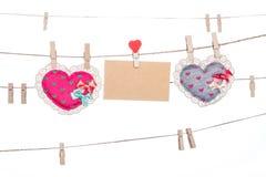Miłości wiadomości karta, valentine dnia matki dnia kierowy kształt Zdjęcia Stock