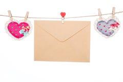 Miłości wiadomości list, valentine dnia matki dnia kierowy kształt Fotografia Stock