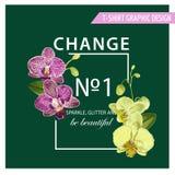 Miłości wiosny lata Romantyczny Kwiecisty projekt z Purpurową orchideą Kwitnie dla druków, tkanina, koszulka, plakaty tropikalny Fotografia Stock