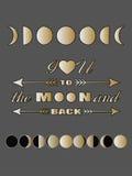 Miłości wycena pisze list Inspiracyjną wycena kocham ciebie tylna walentynka dnia karta i księżyc Obrazy Royalty Free